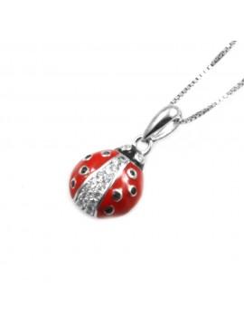 collana donna con coccinella ciondolo gioiello in argento 925 e zirconi - cll1632