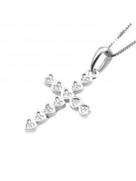Collana con croce ciondolo donna in argento 925 strass bianchi rodiato non scurisce catenina cm 42 mm 30 mm 15 - cln0335