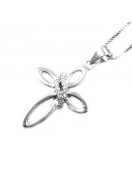 Collana con croce ciondolo donna in argento 925 strass bianchi rodiato non scurisce catenina cm 42 mm 27 mm 17 - cln0336