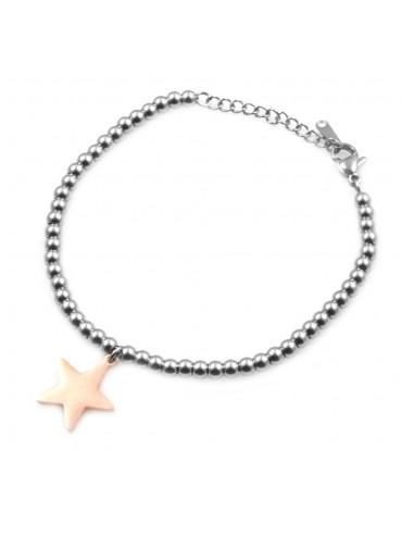 Bracciale donna in acciaio con ciondolo stella stellina bcc0033