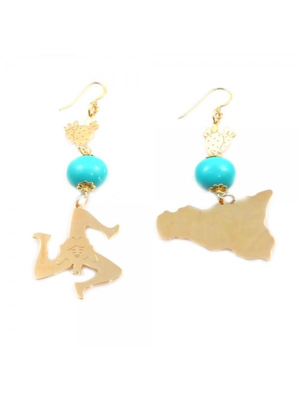 orecchini donna trinacria sicilia fichi d'india gioielli siciliani occ0130