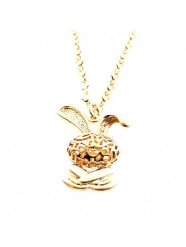 Collana donna con coniglietto in bronzo