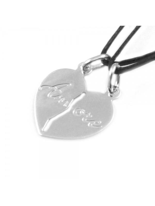 collana cuore che si spezza in argento scritta amore - cll1036