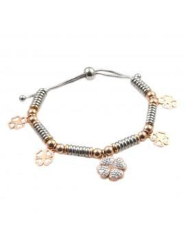 bracciale donna con quadrifoglio in acciaio e strass bcc1681