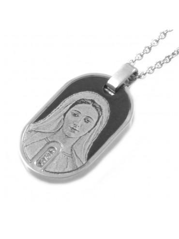 Collana madonna di mejugorie in acciaio e strass cll0715