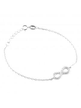 Bracciale donna infinito in argento 925 e strass bcc0064
