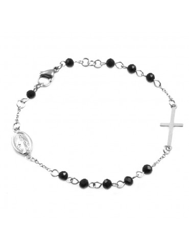 Bracciale rosario in acciaio uomo donna grani e pietre nere bcc0320