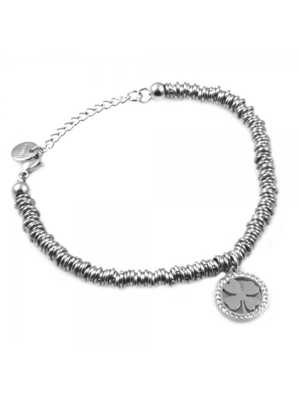 bracciale donna con quadrifoglio in acciaio e strass bcc1523