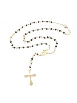 Collana rosario in acciaio dorato uomo donna cll0575