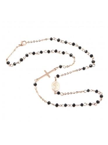 Collana rosario in acciaio ramato uomo donna cll0581