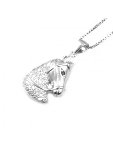 Collana con testa di cavallo in argento 925 e strass cll0611