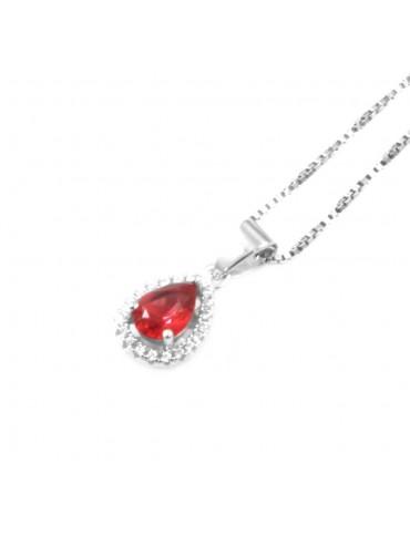 Collana punto luce donna a goccia colore rubino in argento 925 cll0638