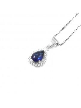 Collana punto luce donna a goccia colore zaffiro in argento 925 cll0640