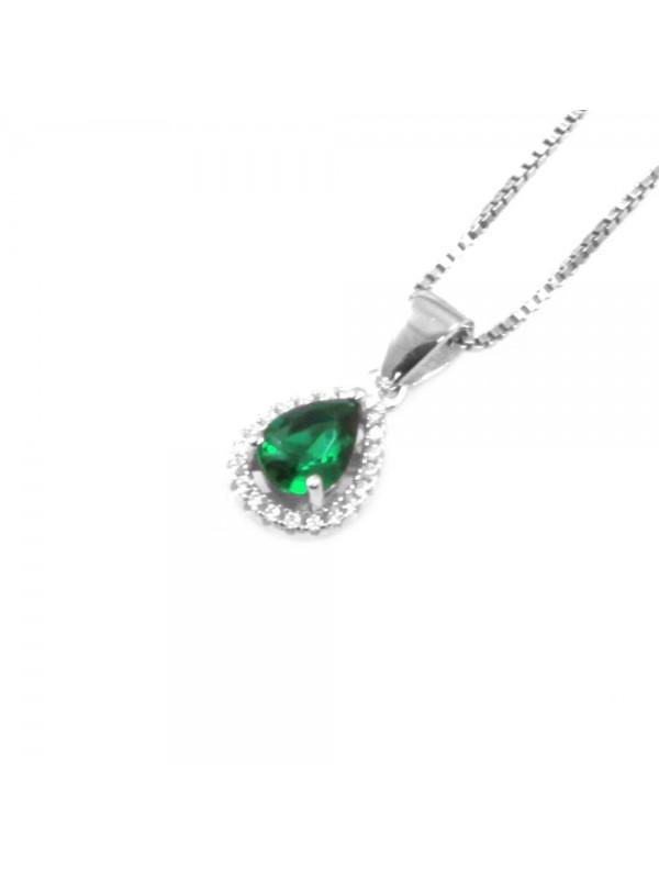 Collana punto luce donna a goccia colore smeraldo in argento 925 cll0642