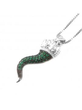 Collana con corno napoletano porta fortuna donna in argento 925 cll0643