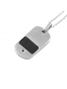 collana con piastra da uomo acciaio e carbonio cll1256