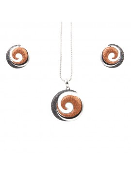Parure donna collana e orecchini in bronzo e glitter spirale par0001