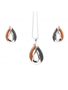 Parure donna collana e orecchini in bronzo e glitter goccia par0004