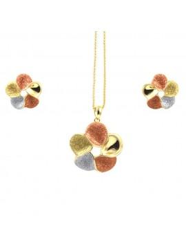 Parure donna collana e orecchini in bronzo dorato e glitter fiore par0006