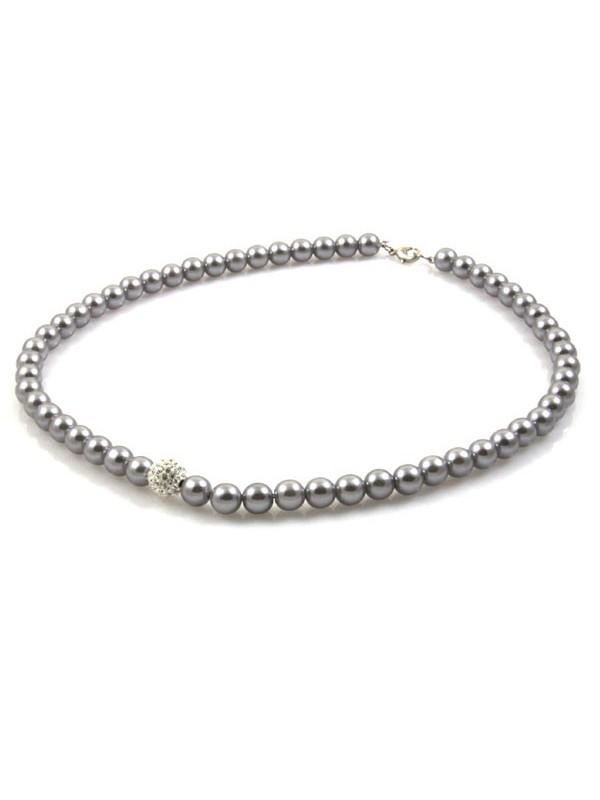 Collana di perle grigie con pallina swarovski