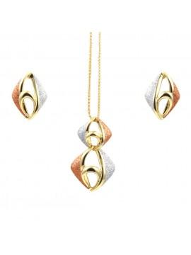 Parure donna collana e orecchini in bronzo dorato e glitter rombo par0008