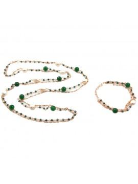 Parure donna collana e bracciale in bronzo pietre perle e cristalli par0011