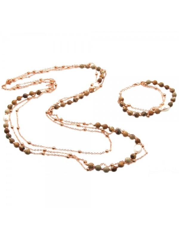 Parure donna collana e bracciale in bronzo pietre perle e cristalli par0012