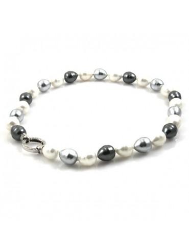 Collana di perle bianche e grigie e susta in argento