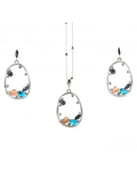 Parure donna collana e orecchini in bronzo e cristalli colorati par0018