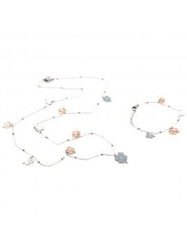 Parure donna collana e bracciale con quadrifogli in acciaio ramato par0022