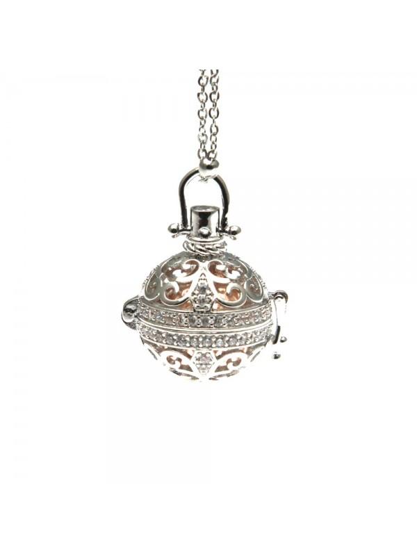 chiama angeli collana donna in bronzo e strass campanellino per gravidanza - cll1760