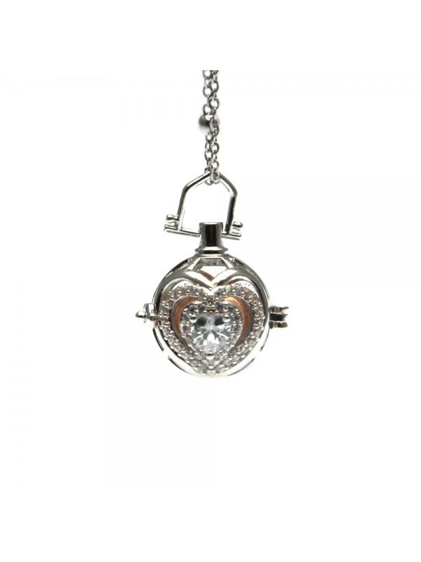 chiama angeli collana donna in bronzo e strass campanellino per gravidanza - cll1751