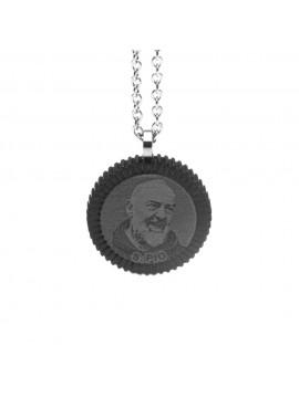 Collana di padre pio santo di pietralcina in acciaio - cln0201