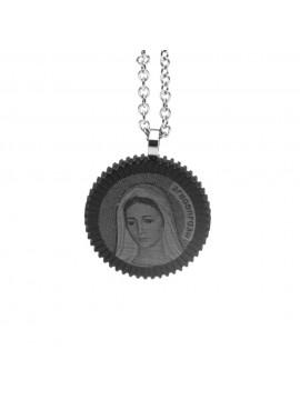 collana con madonna di mejugorie in acciaio - cll1221