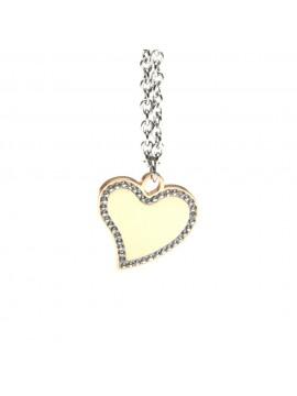 collana cuore donna ciondolo in acciaio con strass - cll1085