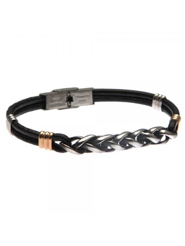 Bracciale in pelle uomo elegante con catena in acciaio - bcc0185
