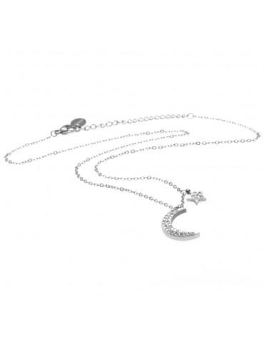 Collana donna luna e stellina in acciaio e strass - cll0629