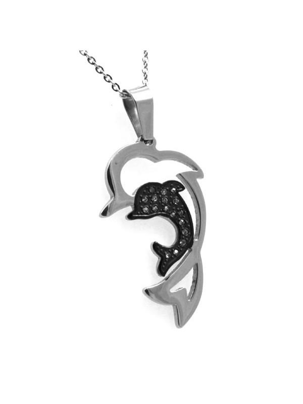 Collana con delfino in acciaio