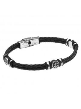 bracciale uomo con ancora in acciaio e pelle nera simboli marinari - bcc2480