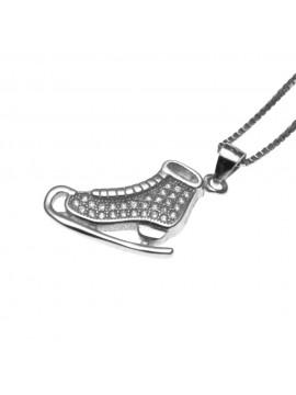 collana donna con pattino da ghiaccio ciondolo in argento 925 zirconi - cll1580