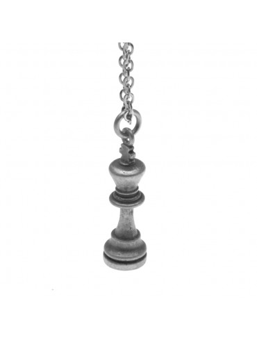 Collana con re di scacchi ciondolo in argento invecchiato cln0037