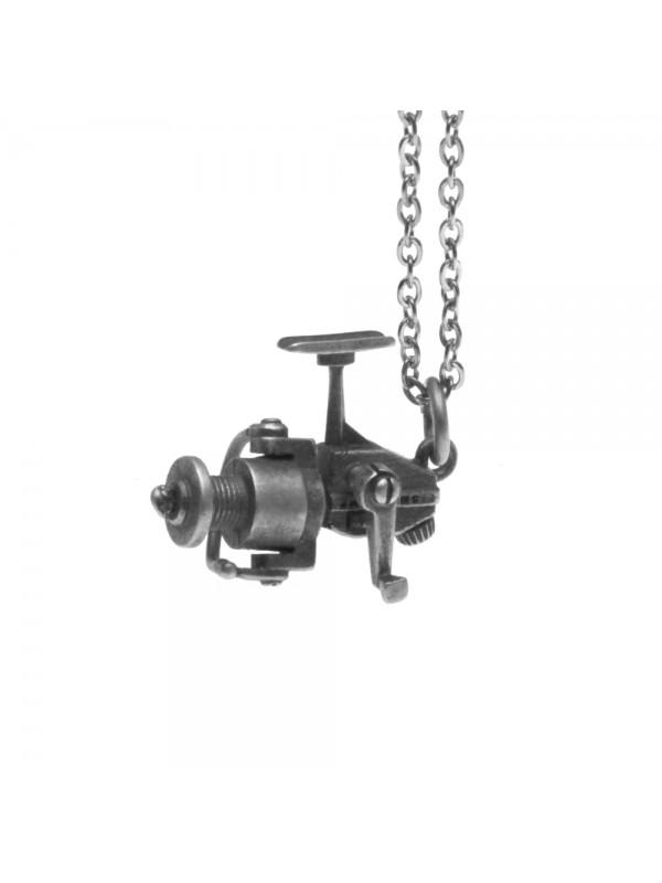 Collana con mulinello da pesca ciondolo in argento invecchiato cln0040