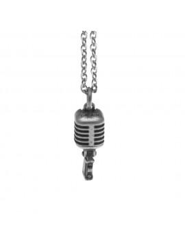 Collana con microfono anni 50 ciondolo in argento invecchiato cln0048