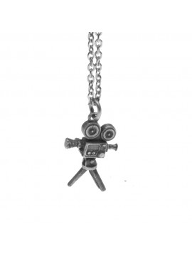 Collana con vecchia cinepresa ciondolo in argento invecchiato cln0049