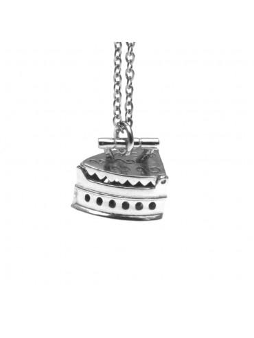 Collana con vecchio ferro da stiro a carbone ciondolo in argento 925 cln0064