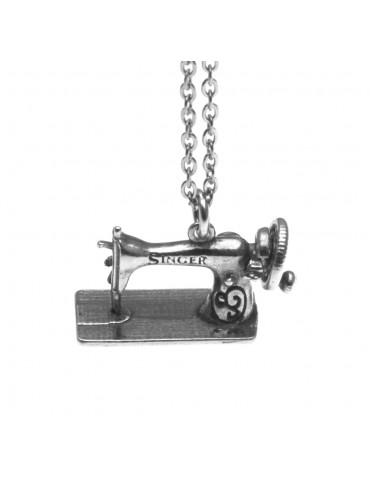 Collana con macchina da cucire ciondolo in argento 925 cln0119