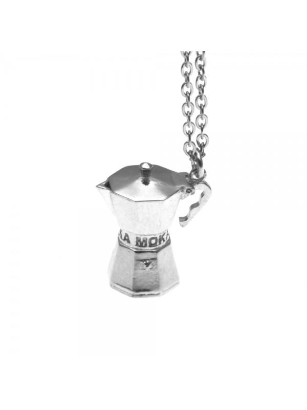 Collana con moka caffettiera ciondolo in argento cln0137