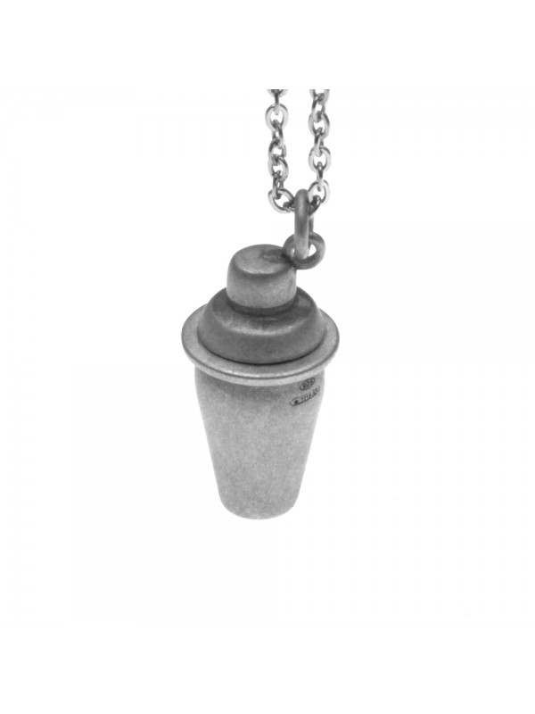 Collana con shaker ciondolo in argento invecchiato cln0181