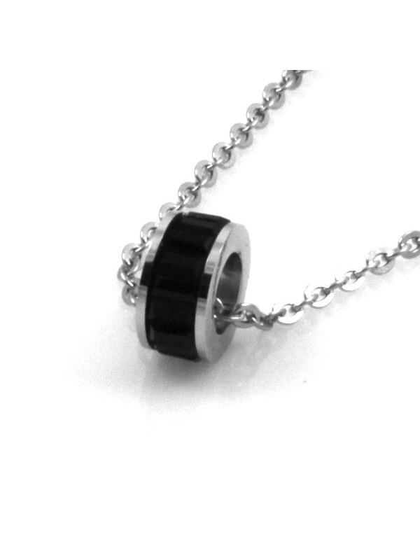 Collana con rotellina di strass in acciaio