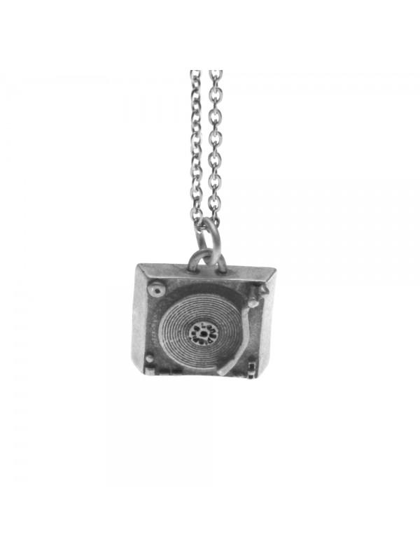 Collana con vecchio giradischi ciondolo in argento invecchiato cln0188